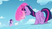 Starlight shoots a small magic beam; Twilight shields herself from it S5E26