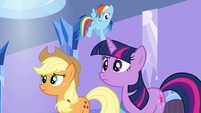 Twilight, Applejack, and Rainbow Dash puzzled S03E12