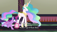 Twilight Sparkle galloping ahead of Celestia S8E1