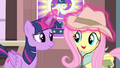 Twilight adjusting Fluttershy's hat S4E11.png