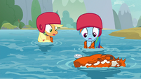 AJ and Rainbow notice Yona's life vest S8E9