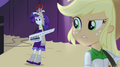 Applejack looking confused at Rarity's moving EG2.png