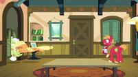 Applejack tackles Granny Smith into the kitchen S6E23