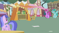 Berryshine, Sprinkle Medley, and Sea Swirl watch Fluttershy approach S1E05.png