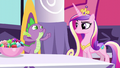 Cadance raising an eyebrow at Spike S5E10.png