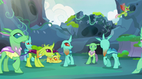 Changelings looking and backing away S7E17