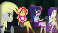 Derpy, Sunset, Sci-Twi and Rarity listening EG4.png