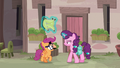 Disguised Scootaloo stalling Sugar Belle S7E8.png