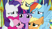 Mane Six in a very sad group hug S9E26