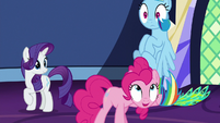 Pinkie Pie pulling Rainbow Dash down S7E26