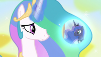 Princess Celestia conjures Luna's dream bubble S7E10