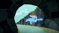 Rainbow Dash entering tunnel S2E07