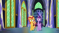 Sunset Shimmer walking with Princess Twilight EGFF