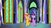 Sunset Shimmer walking with Princess Twilight EGFF