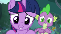 Twilight and Spike looking at 'Angel Bunny' S9E18