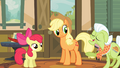 Applejack and Apple Bloom listening to Granny Smith S4E09.png