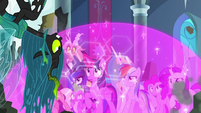 Chrysalis upside-down before the ponies S9E24