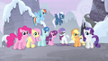 Main 5 and village ponies listening to Twilight S5E02.png