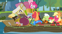 Pinkie Pie pops out of the stuff S4E09