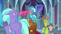 Princess Ember spewing angry fire S8E2