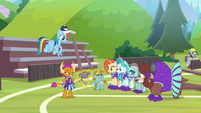 RD and cheer squad staring at Snips S9E15