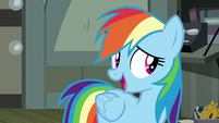 Rainbow Dash acting innocently S7E18