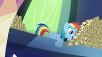 Rainbow Dash dropping scrolls on Spike S6E15