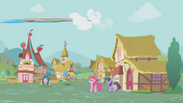 Rainbow Dash flies away from the square S1E05