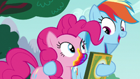 Rainbow Dash with hoof around Pinkie Pie S6E15