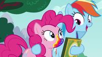 Rainbow Dash with hoof around Pinkie Pie S6E15