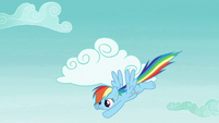 Rainbow flying down from the clouds S5E22