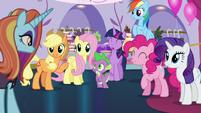 Rarity's friends greet Sassy Saddles S5E14