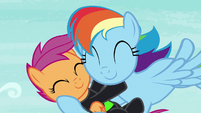 Scootaloo hugging Rainbow Dash S8E20