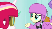 Skydiving pony shrugs her shoulders S9E13
