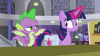 Spike look reproachfully at Twilight S9E5