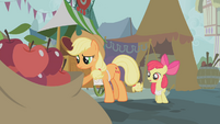 Applejack after giving away all the apples she had brought from the farm to sell S1E12