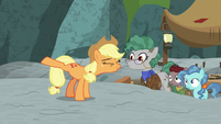 Applejack stretching her hooves S7E25