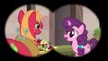 Big Mac and Sugar Belle seen through binoculars S7E8.png