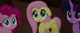 Fluttershy, Pinkie, and Twilight look at the parrots MLPTM