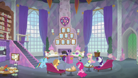 Mane Six and Spike gathered in the lounge S8E9