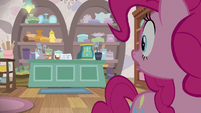 Pinkie Pie sees the shop owner is gone S8E3