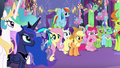 Ponies, changelings, and princesses looking at Twilight S7E1.png