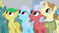 Ponies listening to Flim and Flam S8E16