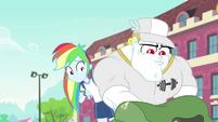 Rainbow watches Bulk dig through his bag CYOE17c