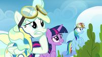 Twilight, Rainbow, and Vapor watching uncomfortably S6E24
