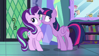 Twilight and Starlight hear a knock at the door S7E14