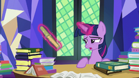 Twilight exhaustedly picks up another book S7E20