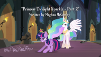 Twilight slides in front of Princess Celestia S4E02