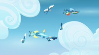 Wonderbolts flying in helical pattern S6E7