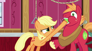 Applejack stuffs an apple in Big Mac's mouth S6E23